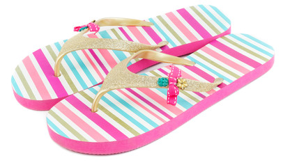 Summer striped slippers isolated