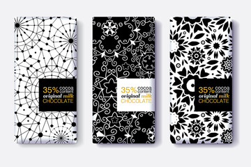 Vector Set Of Chocolate Bar Package Designs With Modern Black and White Geometric Patterns. Editable Packaging Template Collection.