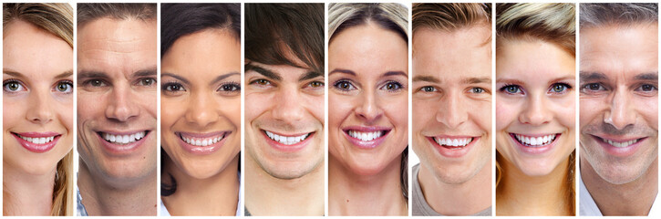 happy people face set