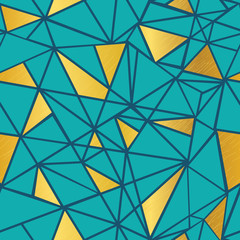 Vector Turquoise Blue and Gold Foil Geometric Mosaic Triangles Repeat Seamless Pattern Background. Can Be Used For Fabric, Wallpaper, Stationery, Packaging.