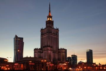 Night view at the Warsaw city, Poland