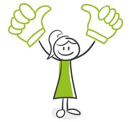 Stick Figure Series Green Woman / Daumen hoch, Sieg