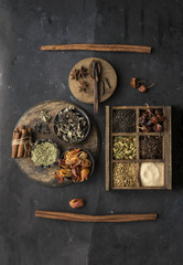 Assorted spices, close up, overhead view