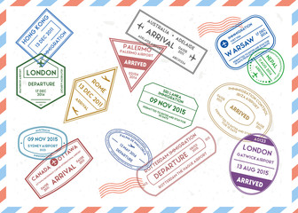 Travel Stamps Set on Mail Envelopes Background. Vector