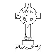Celtic cross gravestone icon, outline style