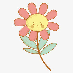 kawaii sad flower plant with cheeks and mouth