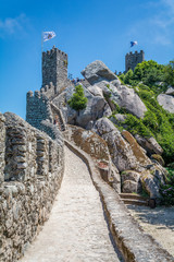 Scenic sight of Moorish Castle walls in Sintra, Portugal