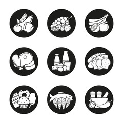 Grocery store product categories icons set