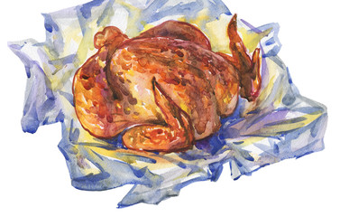 Watercolor grilled chicken in foil. Hand drawn poultry meat on white background. Painting food illustration