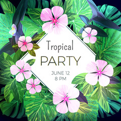 Customizable vector floral design template for summer party. Bright green ropical flyer with pink exotic flowers and palm leaves.