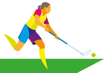 Young woman playing hockey in the hall in floorball