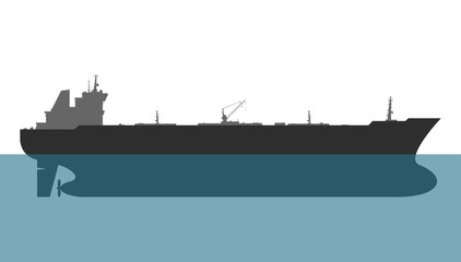 Oil tanker on white background. Vector illustration