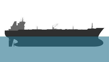 Oil tanker on white background. Vector illustration