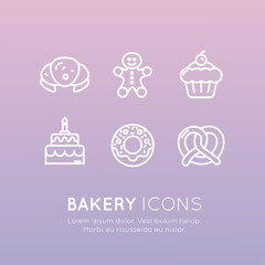 Vector Icon Style Illustration Logo Set of Bakery Sweet Shop Production, Custom Cakes, Bread Factory, Pretzel and Waffle, Donut, Cookie, Isolated Minimalistic Object