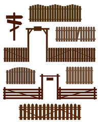 Set of wooden fences with gates isolated on white. Vector illustration.