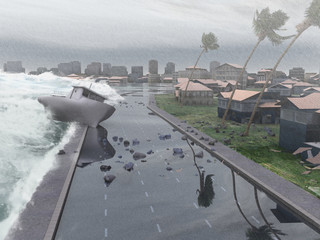 Huracán azotando una ciudad costera