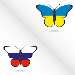 Butterflies with the flag of Russia and Ukraine