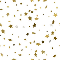 Cute seamless pattern with 3d gold stars. Vector