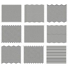 Set of wavy - curvy and zigzag - criss cross horizontal lines. Outline wavy or zigzags.