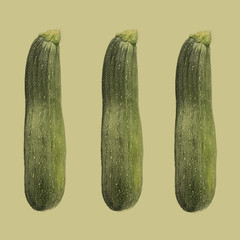 Three courgettes against plain background