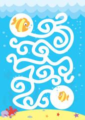 Łatwy labirynt dla dzieci: ryby i morski świat / wektory