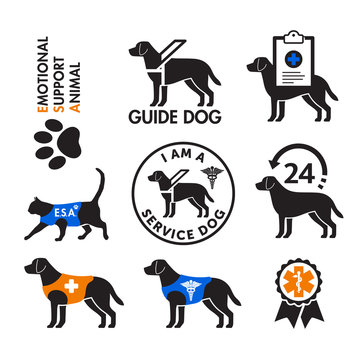Service dogs and emotional support animals emblems
