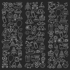 Vector doodle set with toys for shop, store, kindergarten, nursery Hand drawn vector illustration