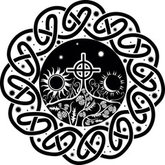 black and white vector image of Celtic cross with moon and sun