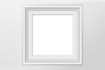 White Blank Picture Frame Vector Illustration on White Wall