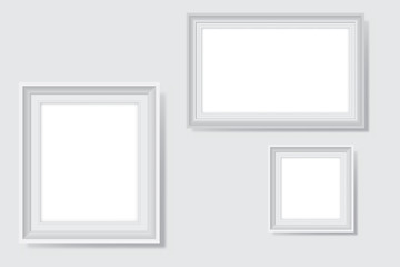 White Blank Picture Frames Vector Illustration on White Wall