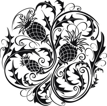 beautiful black and white round vignette in Celtic style with flowers thistle