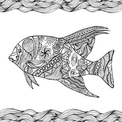 Hand drawn stylized fish with doodle, zentangle, floral, vintage elements with waved pattern frame. Coloring page for  coloring book for adults. Isolated on white.
