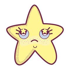 kawaii star thinking with cheeks and stars inside eyes