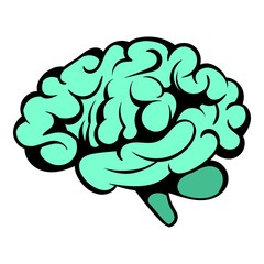 Human brain icon, icon cartoon
