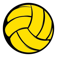 Yellow volleyball ball icon, icon cartoon