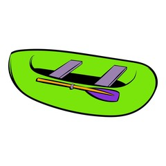 Green inflatable boat icon, icon cartoon