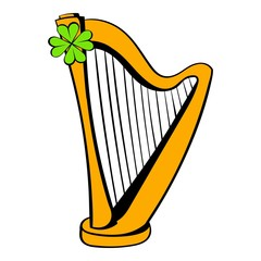 Golden harp and clover icon, icon cartoon