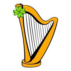 Golden harp and clover icon, icon cartoon