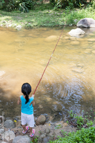 Asian chinese little girl angling with fishing rod stock for Little girl fishing pole