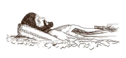 Hand drawn sketch of Jesus Christ in vector illustration.