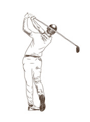 Hand drawn sketch of Golf player playing game in vector illustration.