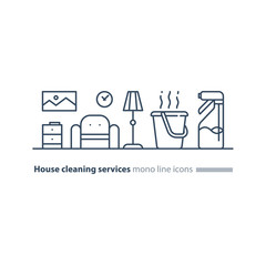 Clean house maintenance services, refresh interior line icons
