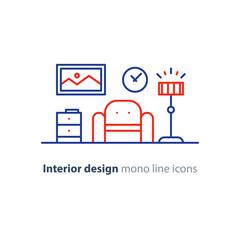Simple interior, apartment design services, line furniture icons set