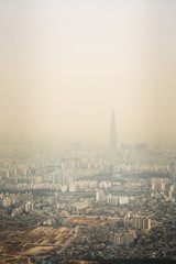 In the city of Seoul in serious fine dust