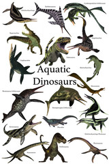 Aquatic Dinosaurs - A collection of various marine reptile dinosaurs from different prehistoric periods of Earth's history.