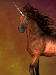 Dapple Bay Unicorn - A unicorn is a mythological creature that has the body of a horse and a magical horn on its forehead.