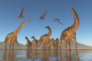 Cretaceous Argentinosaurus Herd - An Argentinosaurus and Deinocheirus herd gets upset when a flock of Anhanguera reptiles fly to close to them.