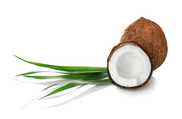 Coconuts and palm leaf on white background