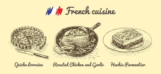 French menu monochrome illustration.