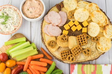 Variety of snacks with dips.